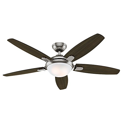 Hunter Indoor Ceiling Fan with light and remote control - Contempo 52 inch, Brushed Nickel, 59013 (Fan Ceiling Hunter Remote 52)