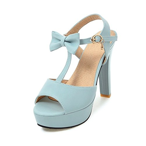 ZHZNVX Zapatos de mujer polipiel Materiales personalizados novedad verano comodidad sandalias Chunky talón peep toe para Boda Office,Carrera blanco Blue