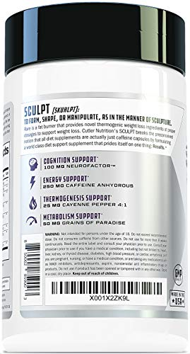 SCULPT Fat Burner Diet Pills: Best Weight Loss Energy Pills and Maximum Strength Thermogenic Metabolism Booster for Fast Weight Loss with Acetyl L Carnitine and Grains of Paradise, 120 Veggie Capsules by Cutler Nutrition (Image #5)