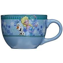 Silver Buffalo DP7124 Disney Olaf and Elsa Soup Mug, 24 oz., Blue