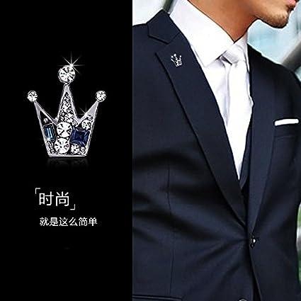 Amazon.com: D coreano Corona Pequeño broche hombre cuello de ...