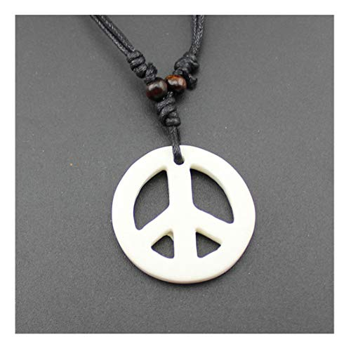 Handmade Adjustable Love Peace Sign Hippie Pendant Necklace Vintage Rope Chain Resin Weave Jewelry-White
