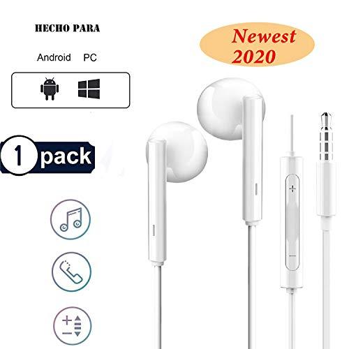 🥇 RURUI Auriculares Cable Auriculares In-Ear con Microfono Auriculares Movil Sonido Estéreo Auriculares Control de Volumen Compatible con Teléfonos Celulares Jack 3.5mm- Blanco