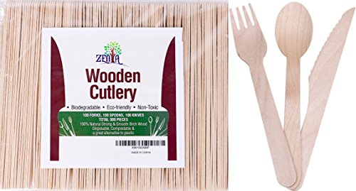 Wooden Disposable Cutlery 300 pc Set 100 forks, 100 spoons, 100 knives, Non-toxic dinnerware, eco-friendly, biodegradable & compostable natural wood utensils
