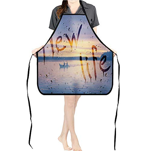 Aprons Rain Drops and New Life Wet Steamy Glass Fishing Boat Photo Pockets and Fully Adjustable Neck Bib -