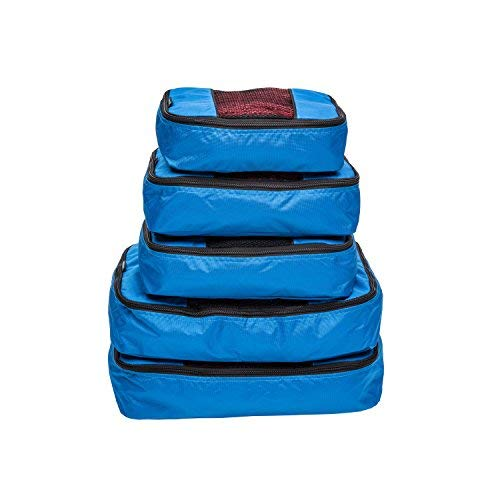 TravelWise Packing Cube System - Durable 5 Piece Weekender+ Set (Blue)
