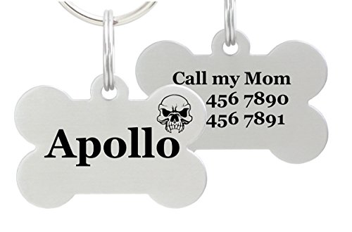 Double Sided Laser Etched Stainless Steel Pet ID Tag for Dog Engraved and Personalized Bone Shape (Skull)