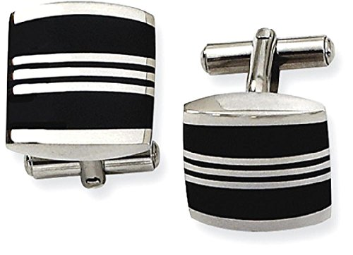 Enameled Cuff (ICE CARATS Stainless Steel Enameled Cuff Links Mens Cufflinks Man Link Fashion Jewelry Dad Mens Gift Set)