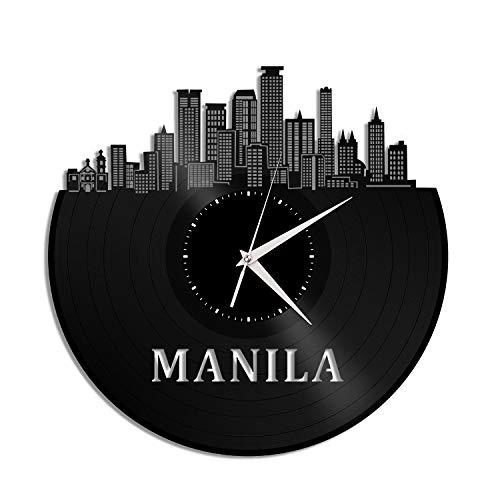 VinylShopUS - Manila Philippines Vinyl Wall Clock City Skyline Souvenir Anniversary Unique Gift Home and Office | Room Decoration