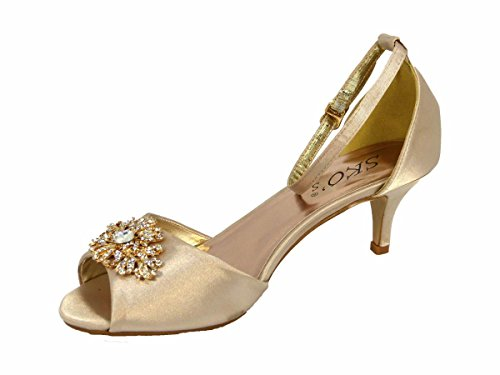 Bridal Party Embellished Womens 8 Bridesmaid Champagne SKO'S BOOCH Toe Gold Peep Low Strap L4 Prom Satin Heel 3 Evening Ladies New Buckle PqqUO0
