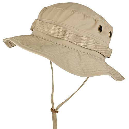 Armycrew Ripstop Tear Resistant Cotton Jungle Boonie Cap with Chin Strap - Khaki - L - Jungle Hat Boonie