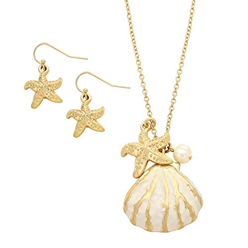 (Rosemarie Collections Women's Beach Babe Shell Pendant Necklace Earrings Set (Gold - White))