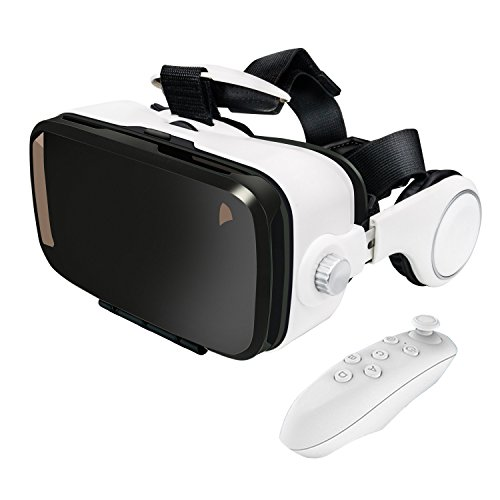 Anskp 3D VR Headset with Bluetooth Remote Controller for 3D Movies and Games,3D Virtual Reality Headset Glasses with Build-in Stereo Headphones for iPhone & Android Smartphones within 4.0-6.0 inches by Anskp