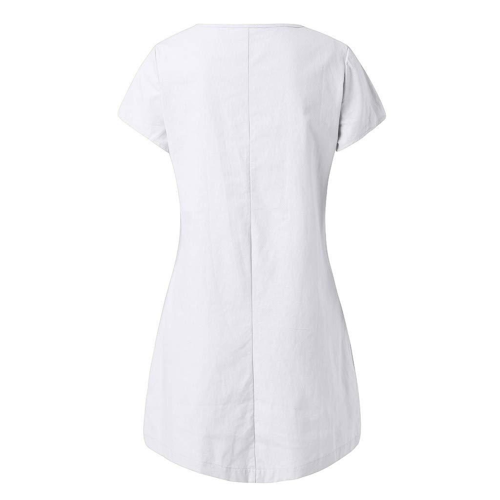 Xinantime Robe Plage R/étro Robes Col V Lin Robes au Genou Manches Courte Unie Casual Tuniques Ample /Ét/é Femme