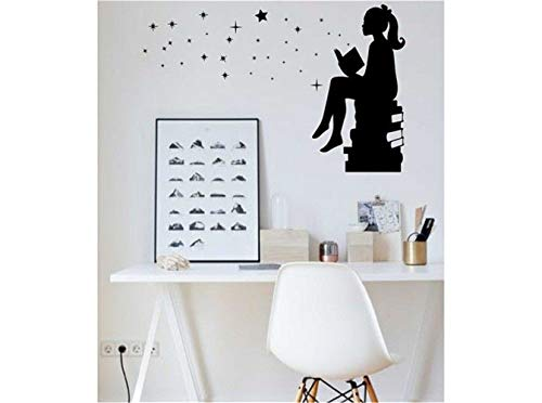 pikaaq Wall Sticker Lettering Wall Art Sticker Removable Letters Quote Art Girl Reading Books Magic for Interiors Schools Classrooms Libraries and Bedrooms]()