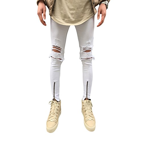 Helisopus Men's Straight Slim Fit Ripped Jeans with Distressed Holes Relaxed Destroyed Denim Pants White - Balmain Sale Men