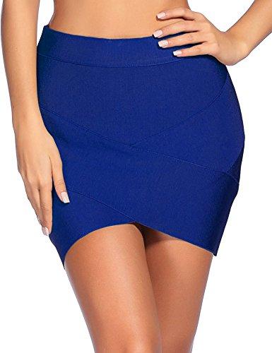 iFashion Women's Sexy Rayon Bandage Bodycon Party Mini Skirt Medium Blue