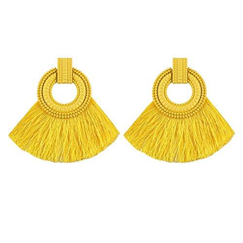 Tassel Shaped (JaneDream Women Bohemian Fan Shaped Statement Tassel Ear Stud Earrings Yellow)