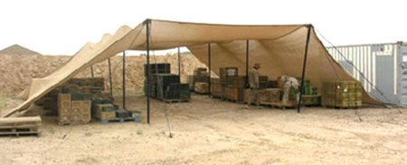 Camel Manufacturing Co., Solar Shade System, P/N 5-4-9697, Type II, Type of Shelter: Pole Supported w/telescoping Aluminum Poles, Complex-Capable, Environment: Hot Climates, Provides General Purpose Solar Protection For Food Stocks, Supplies, Munitions, Vehicles and Equipment, LengthXWidth: 600x600in, Height: 150in, Color: Tan