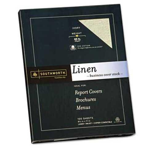 Southworth 25% Cotton Linen Copy/Inkjet/Laser Coverstock, 65 lbs, Letter, Ivory, 100 Sheets