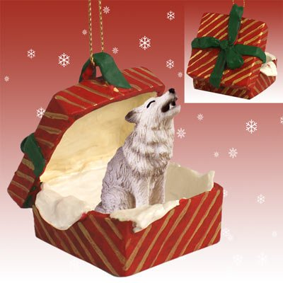 Gray Wolf Red Gift Box Christmas Ornament