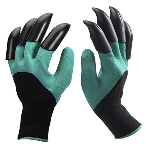 1 Pair Garden Gloves with Claws - For Digging, Weeding, Seeding, Pruning & Poking - Waterproof & Durable Hand Protectors - All in One Gardening Tool - handwear for Gardeners & DIY Hobby