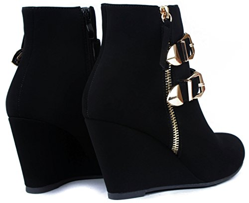 Booties Strap Dual Women Buckle Decor Ankle Black Wedge Gold Nub Zipper IqHawH8d
