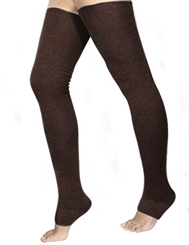 Dahlia Women's Cashmere Blend Thigh High Leg Warmers - Solid Color Coffee (Cashmere Color Solid Blend)