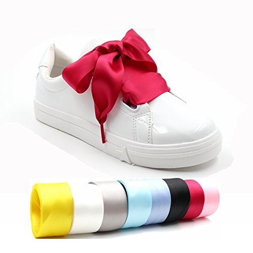 COOL LACE Satin Ribbon Shoelaces Flat Shoe Laces for Sneakers 1 Pair Pack 32mm Wide 3 Different Lengths
