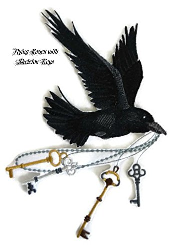 BeyondVision Custom And Unique Happy Halloween [ Flying Raven with Skeleton Keys ] Embroidered Iron on/Sew patch [5.81