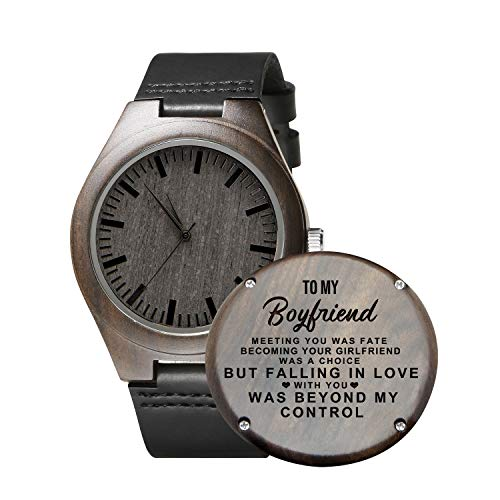 Engraved Personalized Mens Wooden Watch Lightweight Black Leather Strap Analog Quartz Movement Wristwatches for Son and Father Gifts (to Boyfriend)