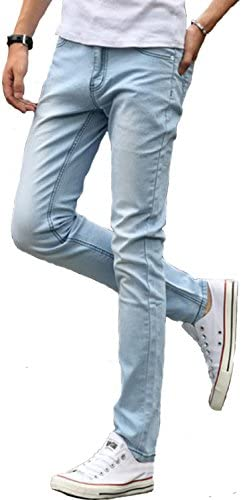 [ベクー] メンズ ジーンズ アイスブルー ストレッチ 薄色 デニム ユーズド 加工 スキニー ジーパン 7