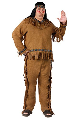 Mememall Fashion Indian Native American Adult Men Plus Size Costume (Beetlejuice Plus Size Adult Mens Costume)