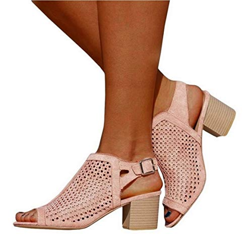 Womens Perforated Booties Open Toe Chunky Block Heel Slingback Cutout Sandals - Pink Slingback