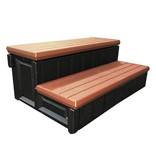 """MRT SUPPLY 36"""" Deck Patio Spa Hot Tub Storage Compartment Steps, Redwood with Ebook"""
