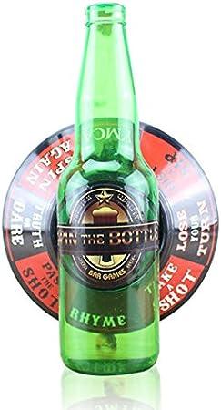 Summerwindy Botella giratoria Juego de Beber un Tiro Vidrio de la Ruleta de la Placa giratoria