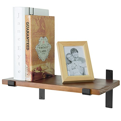 Wood Wall Shelf (15-Inch Distressed Wood Wall-Mounted Floating Shelf, Hanging Display Rack with Black Metal Brackets)