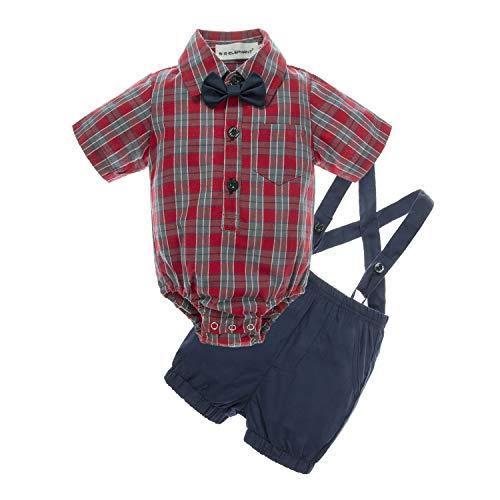 BIG ELEPHANT Baby Boys' 2 Piece T-Shirt Suspender Shorts Clothing Set ()