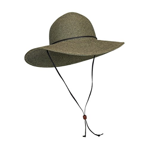Brown Packable Cotton Fabric Sun Hat, Wide Circle Brim w/ Chin Strap, UPF 50+ (Packable Cotton)