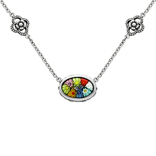Sterling Silver Glass Murano Millefiori Ornate Oval Necklace Made in Italy (Size 18 Plus 3