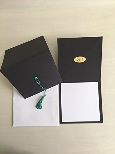 2017-Black cap graduation invitation-green tassel-blank