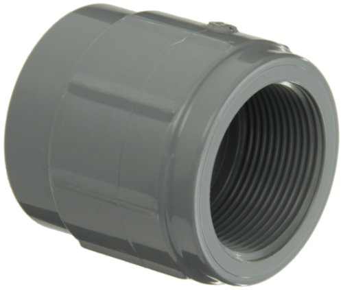 """GF Piping Systems CPVC Pipe Fitting, Adapter, Schedule 80, Gray, 2"""" NPT Female x Slip Socket from GF Piping Systems"""