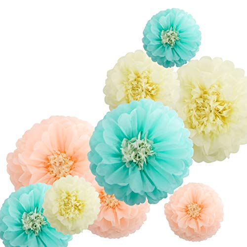 Fonder Mols Tissue Paper Chrysanth Flowers Tissue Flower Pom Centerpiece for Wedding Backdrop Archway Baby Shower Nursery Wall Decor (Set of 9, Ivory Peach Mint) by Fonder Mols