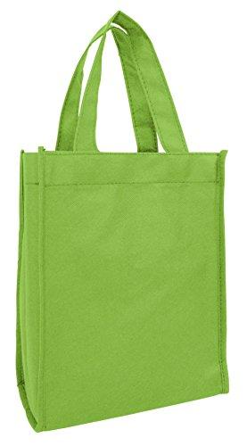 (Set of 12- Small Gift Tote Bag Book Bag Bulk Non Woven Bag Multipurpose Art Craft Screen Print School Bag (Lime))
