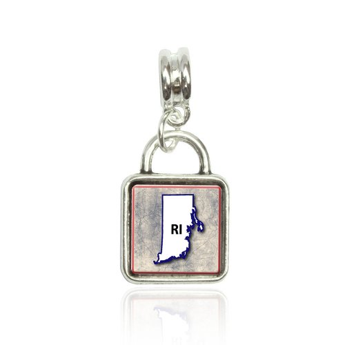 Rhode Island RI State Outline on Faded Blue Euro European Italian Style Bracelet Bead Sqr Charm