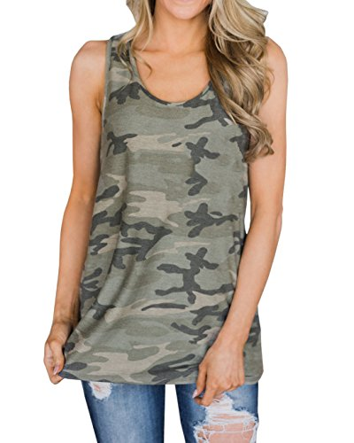 Imysty Womens Casual Sleeveless Camouflage Tank Tops American Flag Print Racerback Camo Shirts (X-Large, K-Green)