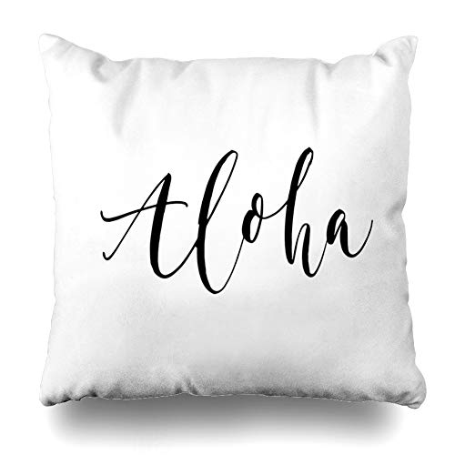 (Ahawoso Throw Pillow Cover Square 18x18 Inches Word Hawaiian Aloha Greeting Phrase Paradise Cursive Script Istic Vacation Cushion Case Home Decor Pillowcase)