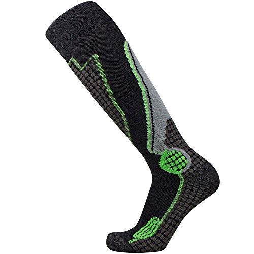 Pure Athlete High Performance Wool Ski Socks – Outdoor Wool Skiing Socks, Snowboard Socks (Black/Grey/Neon Green, Medium)
