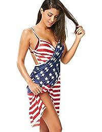 50134444a4 Womens Cover Ups US Flag Spaghetti Strap Beach Backless Bikini Swimsuit Wrap