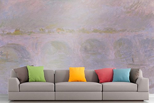 Roshni Arts - Curated Art Wall Mural - Monet - Waterloo Bridge in London | Self-Adhesive Vinyl Furnishings Décor Wall Art - 48x64 Inch (Waterloo Outlets Stores)